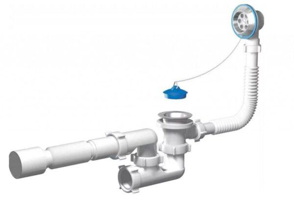 Сифон на ванную с регулируемым переливом е255